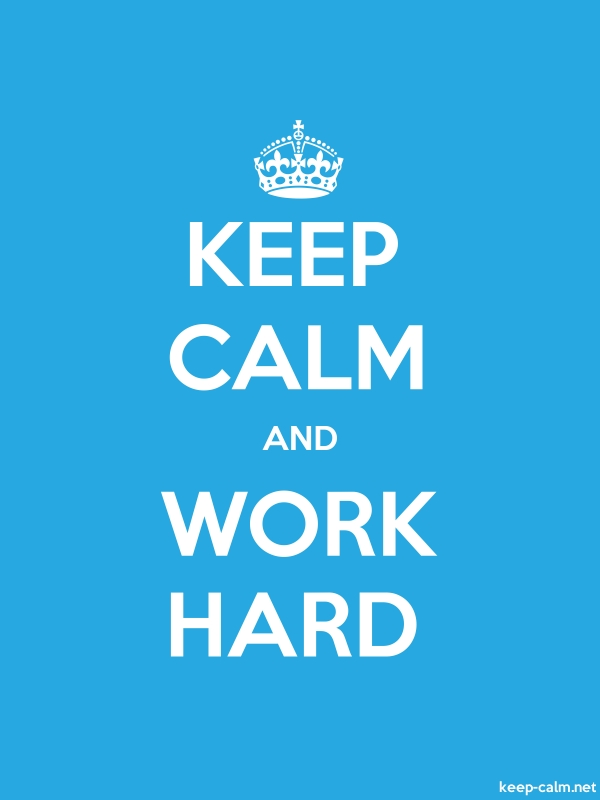 KEEP CALM AND WORK HARD - white/blue - Default (600x800)