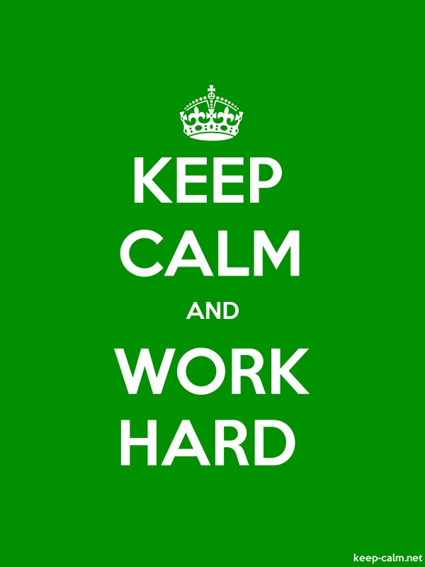 KEEP CALM AND WORK HARD - white/green - Default (600x800)