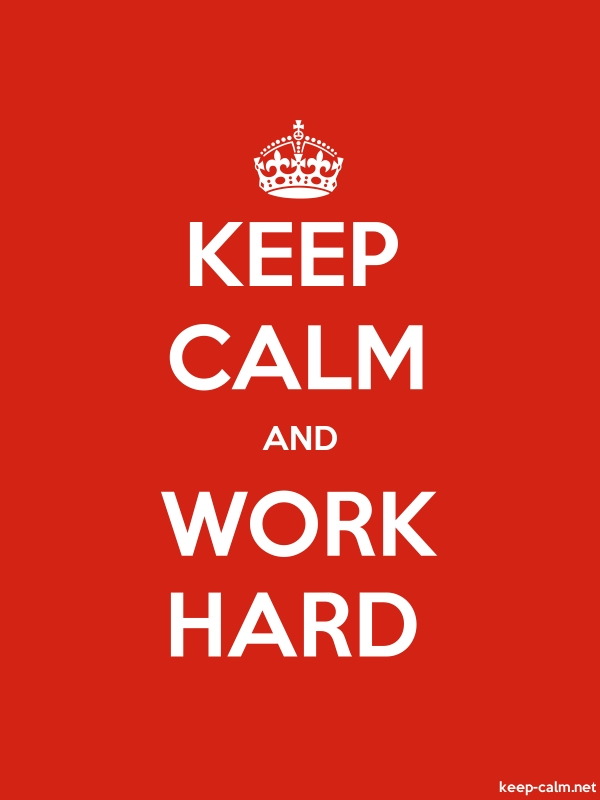 KEEP CALM AND WORK HARD - white/red - Default (600x800)