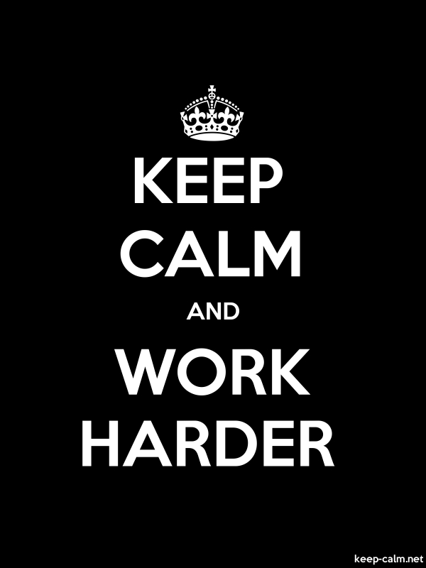 KEEP CALM AND WORK HARDER - white/black - Default (600x800)