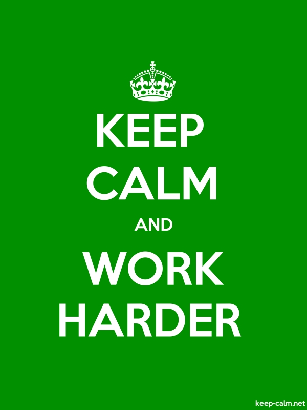 KEEP CALM AND WORK HARDER - white/green - Default (600x800)