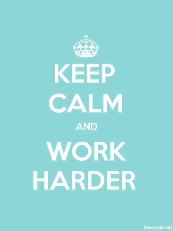 KEEP CALM AND WORK HARDER - white/lightblue - Default (600x800)