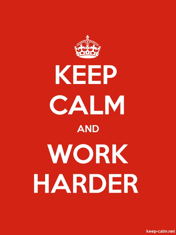 KEEP CALM AND WORK HARDER - white/red - Default (600x800)