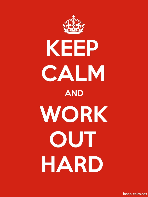 KEEP CALM AND WORK OUT HARD - white/red - Default (600x800)