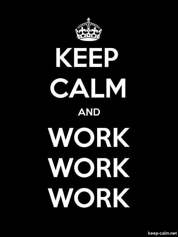 KEEP CALM AND WORK WORK WORK - white/black - Default (600x800)