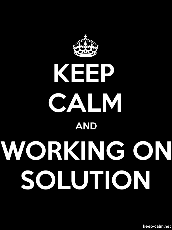 KEEP CALM AND WORKING ON SOLUTION - white/black - Default (600x800)
