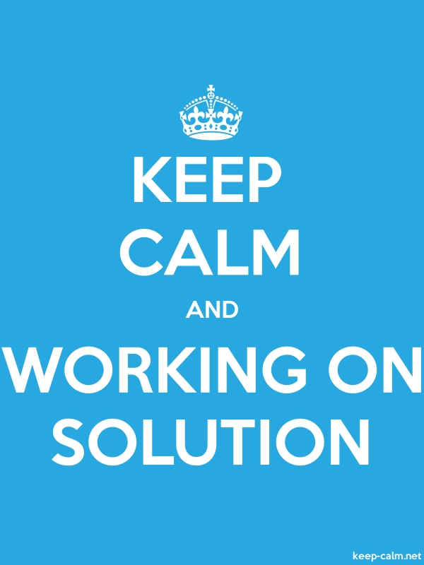 KEEP CALM AND WORKING ON SOLUTION - white/blue - Default (600x800)