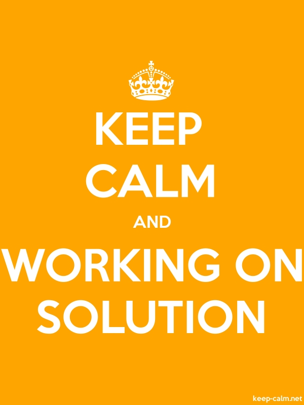 KEEP CALM AND WORKING ON SOLUTION - white/orange - Default (600x800)