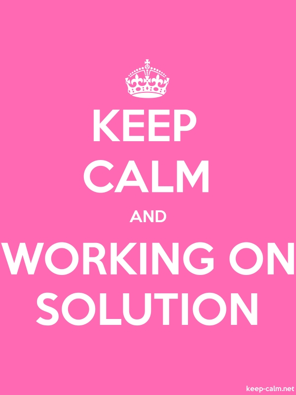 KEEP CALM AND WORKING ON SOLUTION - white/pink - Default (600x800)