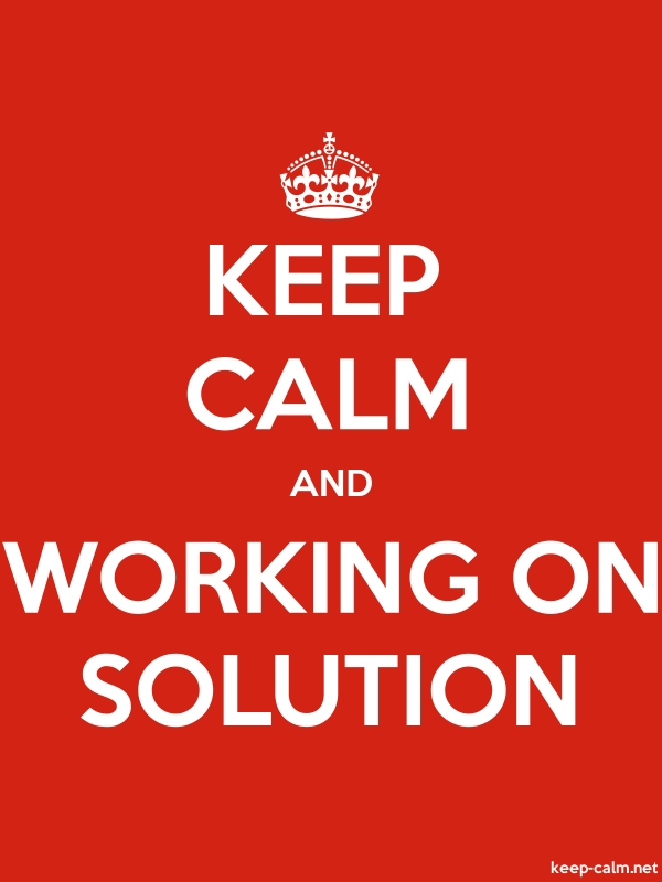 KEEP CALM AND WORKING ON SOLUTION - white/red - Default (600x800)