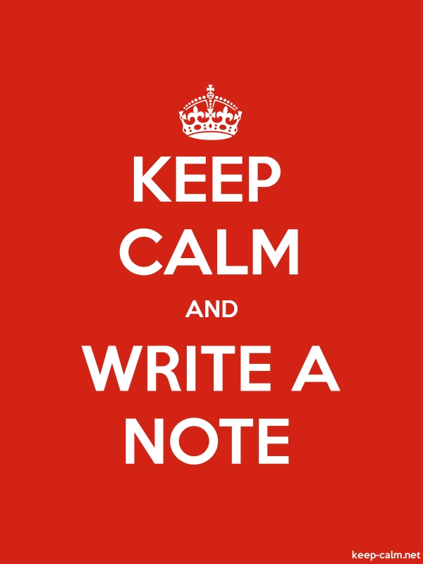 KEEP CALM AND WRITE A NOTE - white/red - Default (600x800)