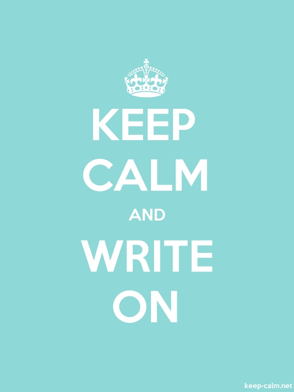 KEEP CALM AND WRITE ON - white/lightblue - Default (600x800)