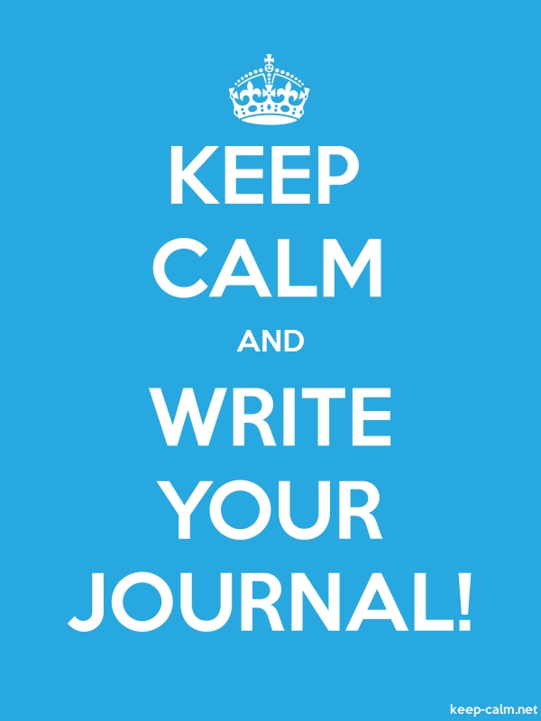 KEEP CALM AND WRITE YOUR JOURNAL! - white/blue - Default (600x800)
