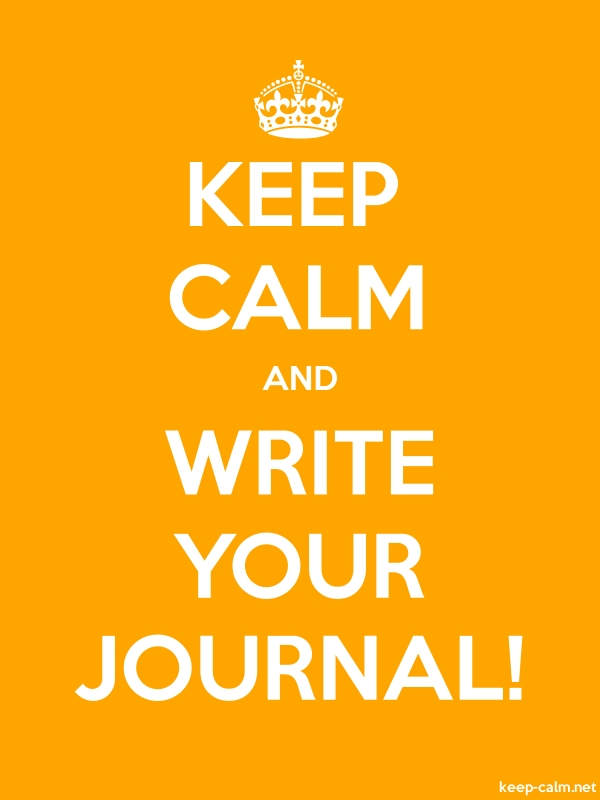 KEEP CALM AND WRITE YOUR JOURNAL! - white/orange - Default (600x800)