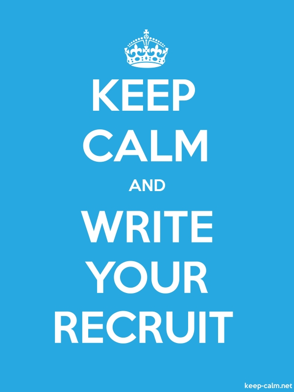 KEEP CALM AND WRITE YOUR RECRUIT - white/blue - Default (600x800)