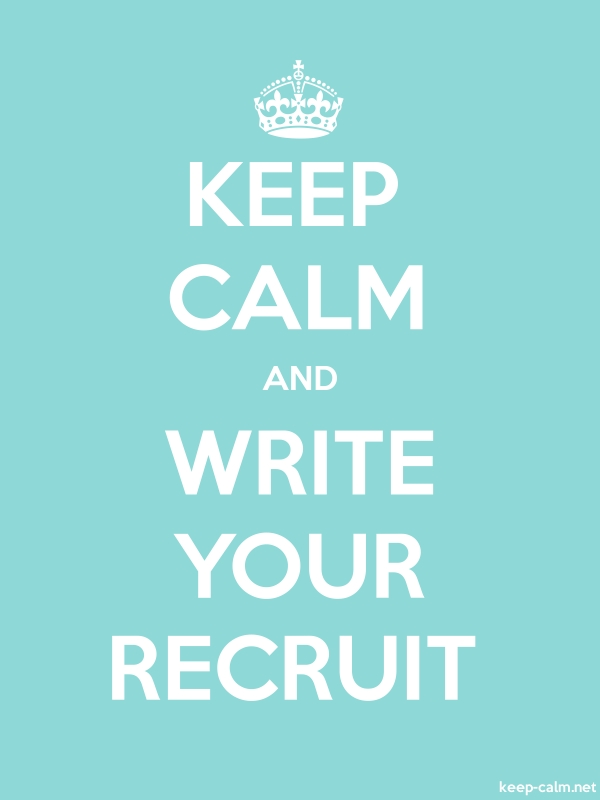 KEEP CALM AND WRITE YOUR RECRUIT - white/lightblue - Default (600x800)