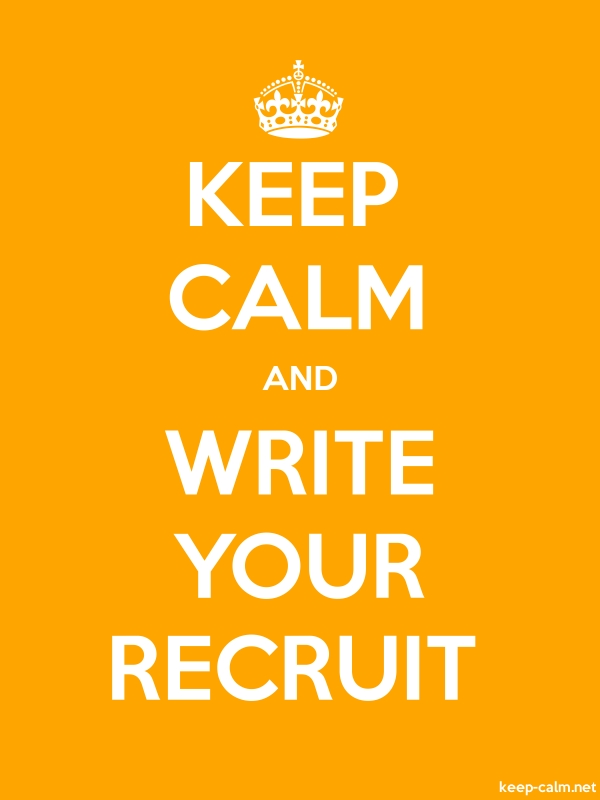 KEEP CALM AND WRITE YOUR RECRUIT - white/orange - Default (600x800)