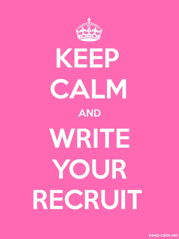 KEEP CALM AND WRITE YOUR RECRUIT - white/pink - Default (600x800)