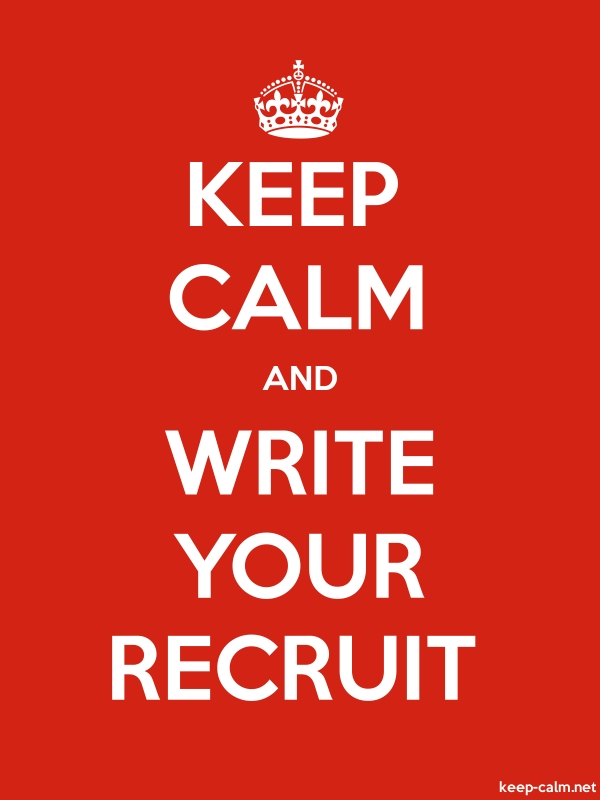 KEEP CALM AND WRITE YOUR RECRUIT - white/red - Default (600x800)