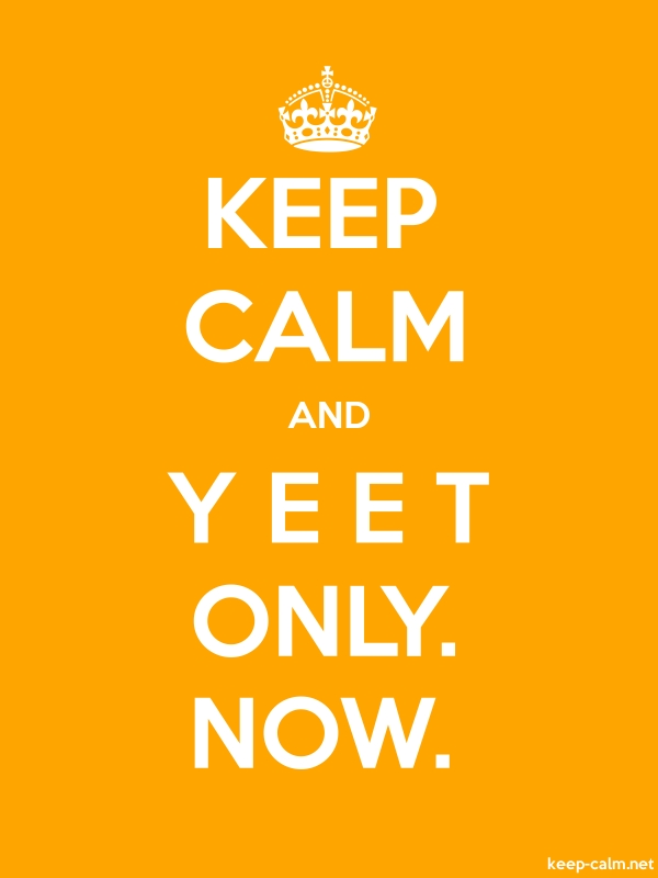 KEEP CALM AND Y E E T ONLY. NOW. - white/orange - Default (600x800)