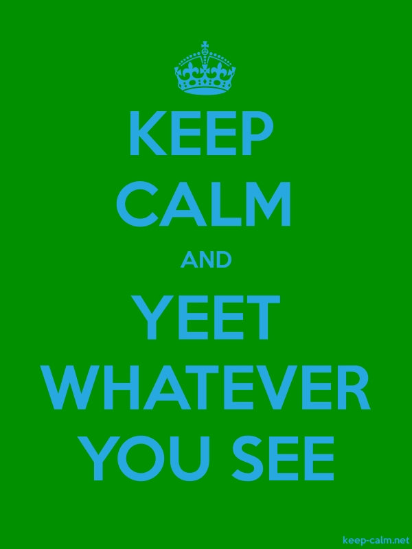 KEEP CALM AND YEET WHATEVER YOU SEE - blue/green - Default (600x800)