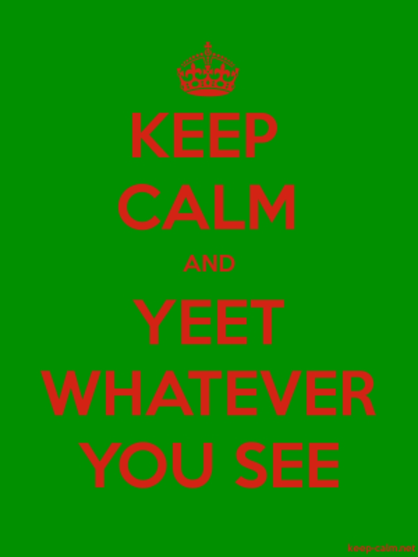 KEEP CALM AND YEET WHATEVER YOU SEE - red/green - Default (600x800)