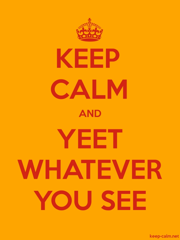 KEEP CALM AND YEET WHATEVER YOU SEE - red/orange - Default (600x800)