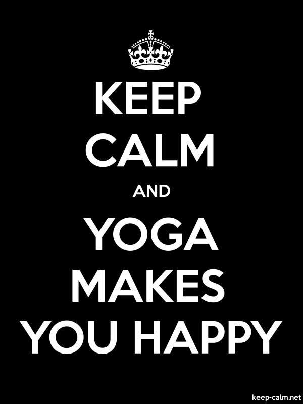 KEEP CALM AND YOGA MAKES YOU HAPPY - white/black - Default (600x800)