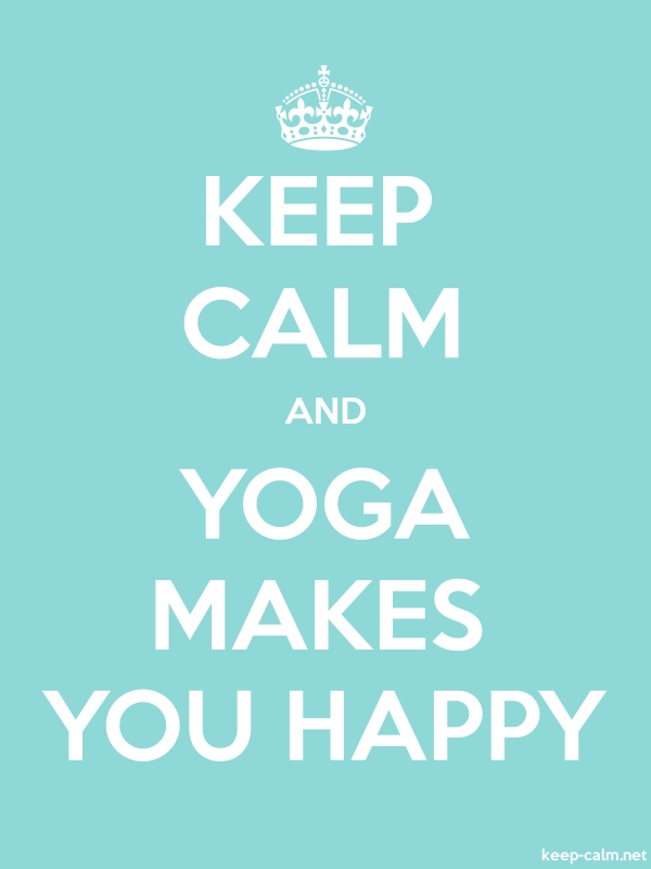 KEEP CALM AND YOGA MAKES YOU HAPPY - white/lightblue - Default (600x800)