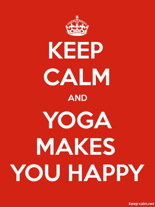 KEEP CALM AND YOGA MAKES YOU HAPPY - white/red - Default (600x800)